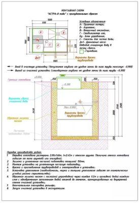 Монтажная схема септика Юнилос Астра 8 миди пр