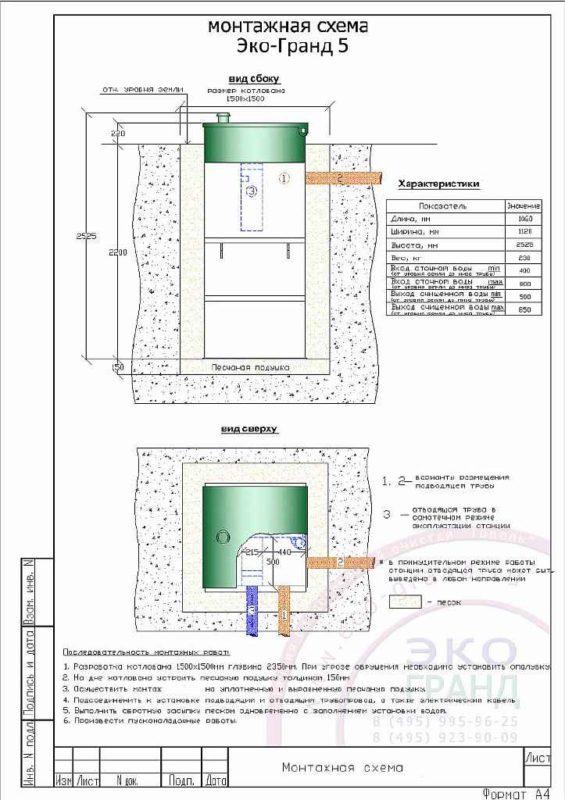 Монтажная схема септика Тополь 5