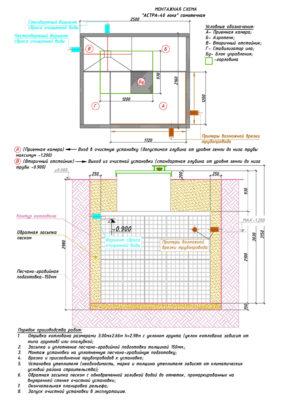 Монтажная схема септика ЮНИЛОС АСТРА 40 Лонг