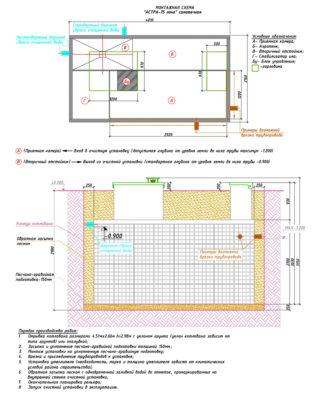 Монтажная схема септика ЮНИЛОС АСТРА 75 Лонг